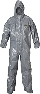 Lakeland ChemMax 3 Heat Sealed Taped Seam Coverall with Respirator-Fit Hood and Boot, Disposable, Elastic Cuff, 3X-Large, Gray, Double Storm Flap (Case of 6)
