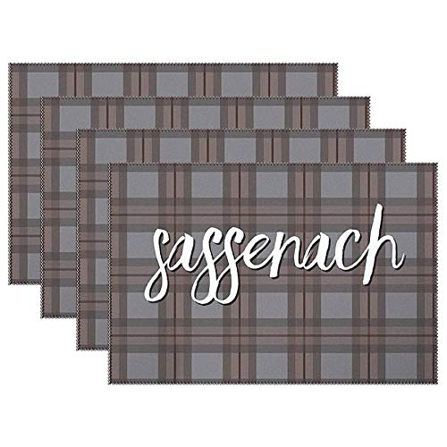 Yilooom Fraser Tartan with Jamie Fraser Quote Sassenach Set of 6 Heat Resistant Stain Insulation Place Mats Anti-Skid Washable Canvas Table Placemats 12 X 18 Inch