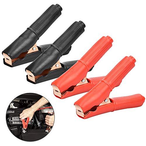 AFASOES 4 Pcs Pinzas Bateria Coche 100 A 250V Sin Cable Pinzas Cocodrilo Pinzas de Arranque Pinzas Cargador Bateria Coche Cobre con Mango Plástico Abrazadera de Cocodrilo Asisladas para Batería Coche