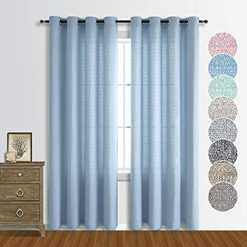 Pale Blue Curtains 84 Inch Length for Living Room Rustic Semi Sheer Opaque Curtains Faux Linen Country Style Grommet Baby Blue Faux Cotton Linen Drapes for Bedroom 52x84 Pair Set