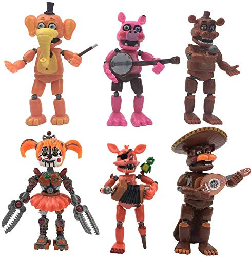 6PCS Five Nights At Freddy'S Figuras de acción Juguetes, Luminous Freddy Fazbears Pizzeria Simulator Ver Foxy Chica Lighte Movable Joints Doll Kids Toy