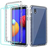 Teayoha for Samsung Galaxy A01 Core Case, with [2 x Tempered Glass Screen Protector] Clear 360 Full Body Coverage Hard PC Soft Silicone TPU 3in1 [Military Protective] Shockproof Phone Cover - Clear
