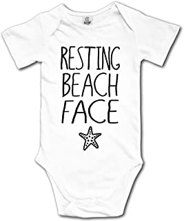 Resting Beach Face Starfish Cute Baby Boys Short Sleeve Jumpsuits Playsuit Outfits