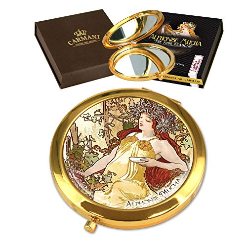Carmani - Placcato oro bronzo tasca, compatto, viaggi, Specchio decorato con pittura Mucha 'Autunno'