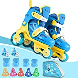 Kids Quad Roller Skate,Roller Skates for Girls Boys,with Adjustable Size&Double Brakes&Luminous Wheels&Protective Gear,3-point Balance Roller Shoes for Beginners,for Indoor Outdoor (Bright blue, S)