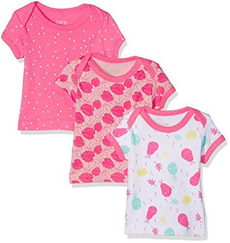 Care Bane, T-Shirt Bébé Fille, Lot de 3, Multicolore (Camellia Rose), 74