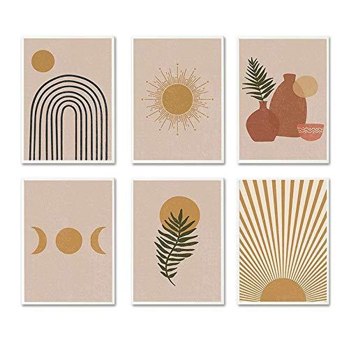 iMagitek Set of 6 Unframed Neutral Boho Art Prints, Mid Century Art Prints Set, Gallery Wall Art,...