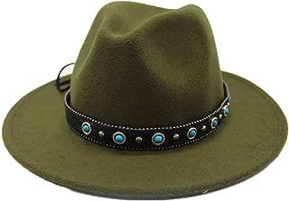 Sun Hat for men and women Men Women Fashion Fedora Hat Wool Wide Belt Blue Stone Decorative Rivet Punk Wind Fedora Winter