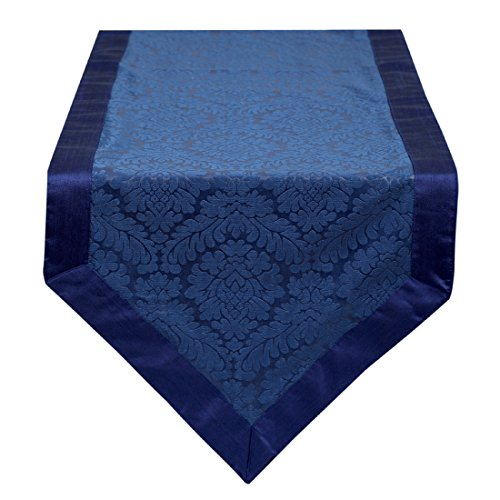 The White Petals Blue Table Runner 14x64 inch Handmade & Unique