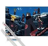 1art1 Naruto Póster (91x61 cm) Naruto Shippuden, Akatsuki Y 1 Lote De 2 Varillas Transparentes