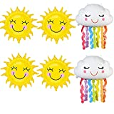 6 Pcs Foil Rainbow Balloons Sunshine Tassel Cloud Theme Party Sunny Sun Smile Face Shaped Foil Mylar Balloons for Birthday Baby Shower Party Decorations Supplies