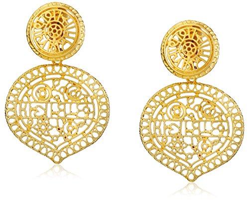 Kenneth Jay Lane Satin Gold Filigree Drop Clip-On Earrings