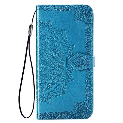 TANYO Hülle Geeignet für Xiaomi Redmi 9A(Redmi 9AT), Wallet Tasche Hülle, Retro Blumen Muster Design, [Ultra Slim][Card Slot][Handyhülle] Flip Wallet Hülle. Blau
