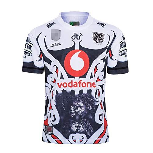 Camiseta de entrenamiento principal de rugby de la Liga NRL, versión de fanáticos de la camiseta bordada (color: guerrero, tamaño: XL)