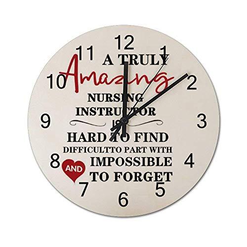 Reloj de pared de madera redondo rústico silencioso sin tictac de 10 pulgadas Un instructor de enfermería realmente increíble Decoración de pared de granja vintage para el hogar, la oficina, la escuel