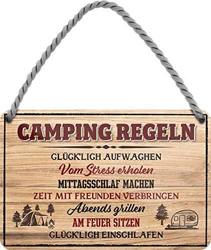 N / A Camping Regeln: Glücklich aufwachen. 18x12 cm Blechschild Hängeschild HS485