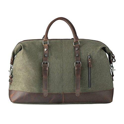 Canvas Weekender, P.KU.VDSL Leder Reisegepäck Reisetasche Duffle Bag Handgepäck Tasche Leather Wasserdicht für Herren Damen (A - ArmyGreen)