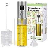 Olive Oil Sprayer Mister INVOKER Oil Dispenser Bottle 100ml, Premium Glass Oil Vinegar Soy Sauce Dispenser Pump Sprayer for BBQ, Grilling, Kitchen, Cooking, Salad, Bread Baking, Frying