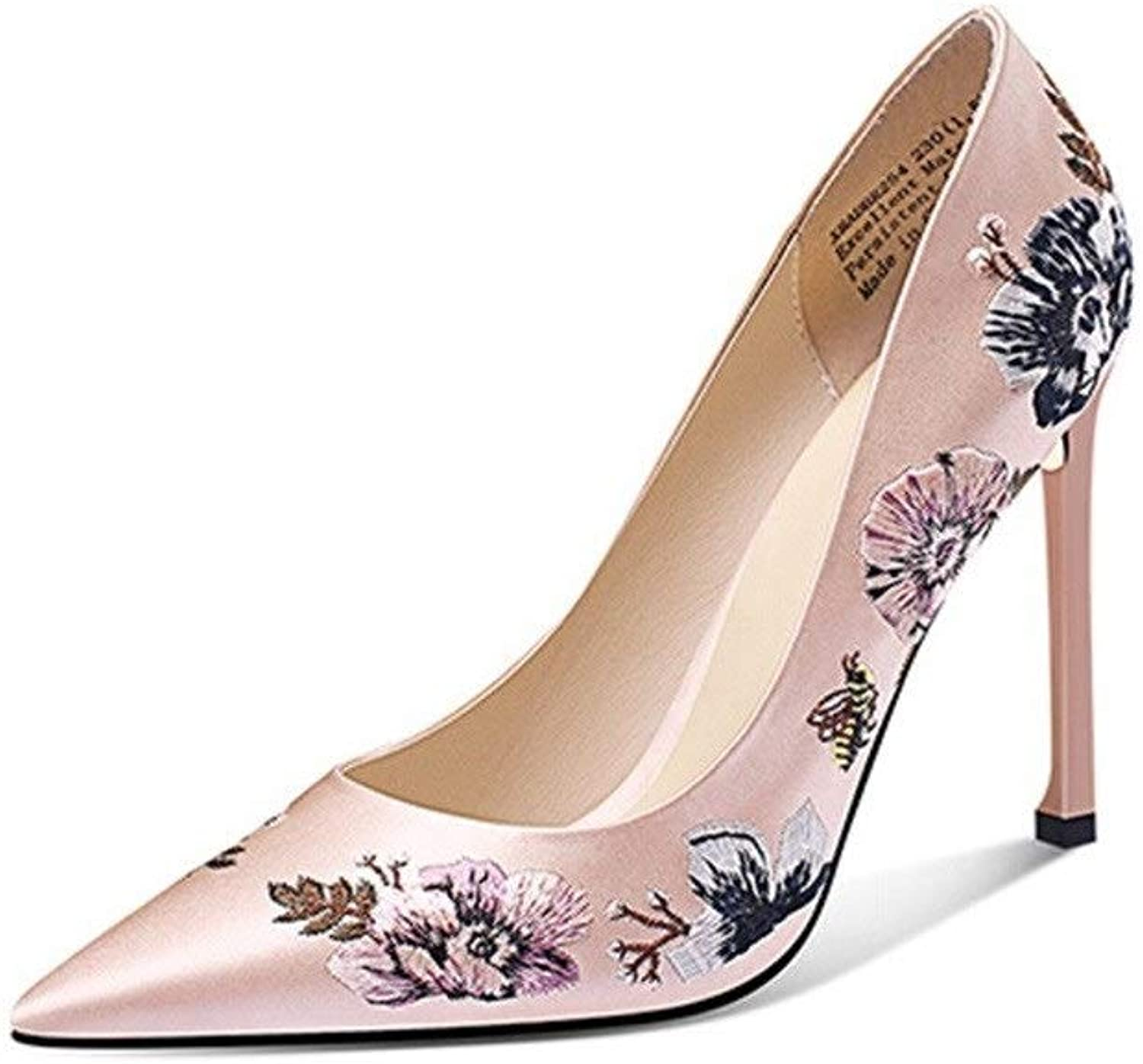 FLYSXP Embroidered shoes Temperament Flowers Silk Cloth High Heels Stiletto Heel Elegant Pointed shoes Pink Dance shoes Evening Dress Bride shoes Women's shoes (color   Pink, Size   35)