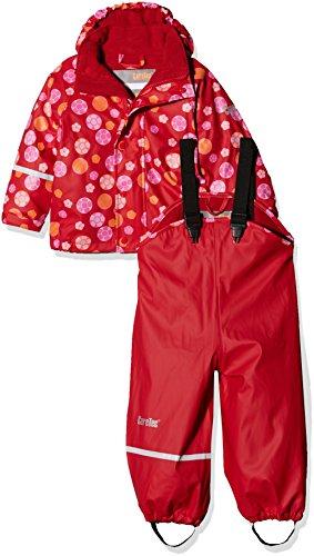 CareTec Kinder wasserdichte Regenlatzhose und -jacke im Set (verschiedene Farben), Rot (Red), 98