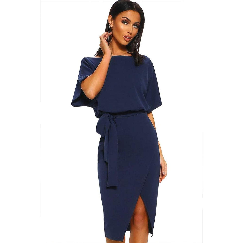 YJiaJu ソリッドカラーの袖ラウンドネック半袖ハイウエストスプリットレースAラインスカートスプライスポリエステルレジャー女性ドレス (Color : Blue, Size : S)
