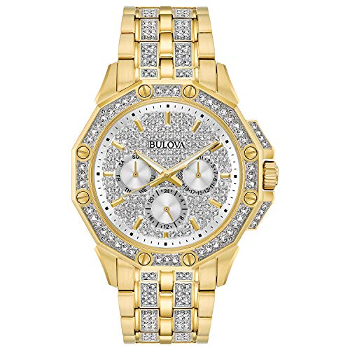 Bulova Relógio masculino 98C126 Swarovski Crystal Pave Pulseira