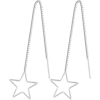 Sterling Silver Plated Hollow Triangle Ear Line Threader Long Tassel Dangle Drop Earrings