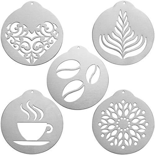 BESTonZON Barista Kaffee Schablonen Edelstahl Latte Art Schablonen Cappuccino Schablonen Vorlagen für Kaffee Dekorieren Cookie Vereisung Kuchen Cupcake Dekor 5 Stück