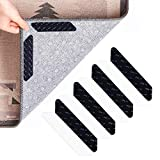 Lingso Rug Grippers for Area Rugs, Non Slip Rug Gripper to Keep Your Rug in Places & Makes Corners Flat, Carpet Grippers for Area Rugs Over Carpet, Reusable Rug Tape (Black 8 pcs)