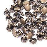 Wedding Decor - Lot de 100 rivets double calotte - Bricolage, chaussures, sacs, vêtements, réparation, cuir, Métal, bronze, 9 mm