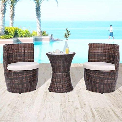 lingjiushopping Set Bistro Chaises et table de jardin 5 pièces polyrotin marron Couleur du coussin : Blanc crème Ensemble de meubles d'extérieur