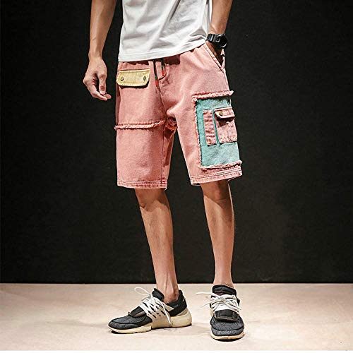 Sommer Mens Shorts Patchwork Jeans Shorts Multi-Tasche Lässige Männer Kurze Hosen Streetwear -Rot_Chinese_Size_XL
