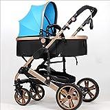 Strollers DD Bicicleta de bebé El Cochecito Plegable para bebés recién Nacidos Puede Sentarse y Dormir Cochecito de bebé Durante 1 Mes - Carro de Cuatro años de 4 Ruedas Triciclo Bebe (Color : Azul)