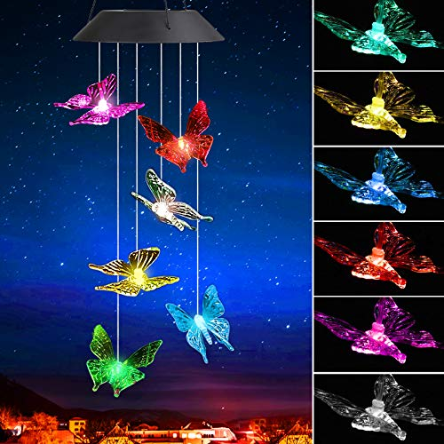 SUNJOYCO Butterfly Solar Wind Chimes Outdoor, Color Changing LED Lighted Wind Chime, Waterproof Memorial Gift Mobile Windchime, Solar Powered Colorful Hanging Light for Home Party Yard Garden (Clear)