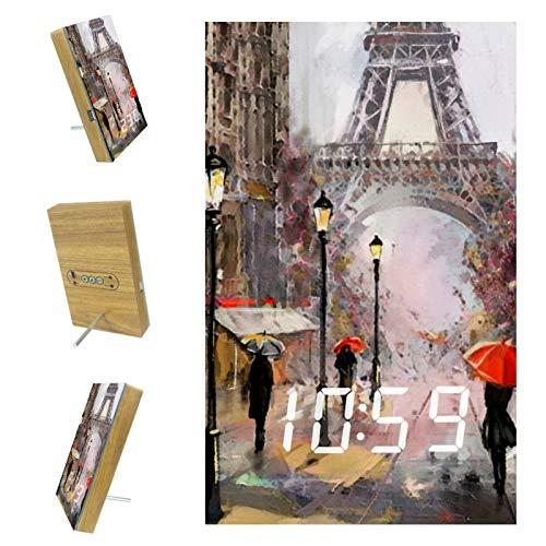 nakw88 Reloj despertador digital con diseño de Torre Eiffel de París con puerto USB para cargar, oficina y decoración del hogar
