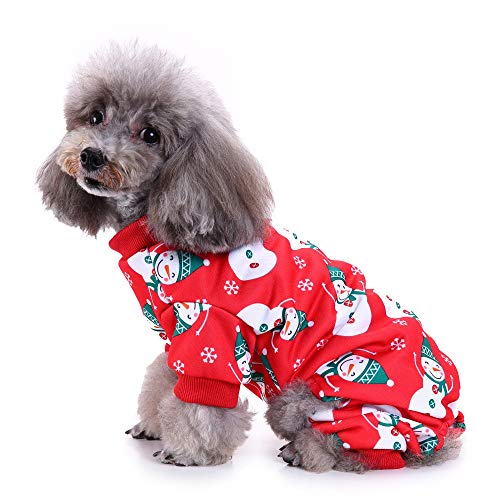 Delifur Dog Christmas Snowman Costume Cute Pajamas with Elk Soft Suit Apparel for Dogs Cats (Snowman, M)