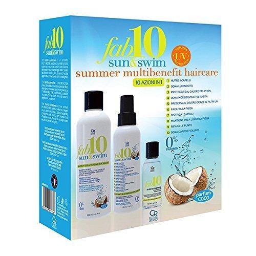 Fab10 - Soin Capillaire Multi bénéfices Sun & Swim pour l'été - Traitement Capillaire Professionnel,250 ml Shampoing, 125 ml Masque Spray et 50 ml Elixir à la Kératine Avec Protection Solaire