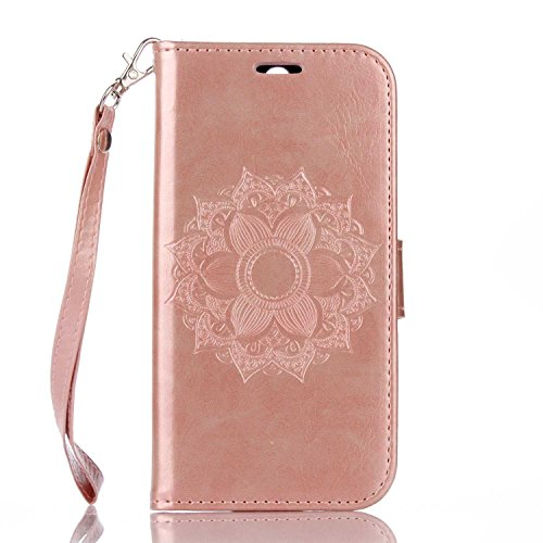 Schutzhülle Für HTC One M8 , pinlu® Handyhülle Hohe Qualität PU Ledertasche Brieftasche Mit Stand Function Innenschlitzen Design Mandala Blumen Muster Rose Gold