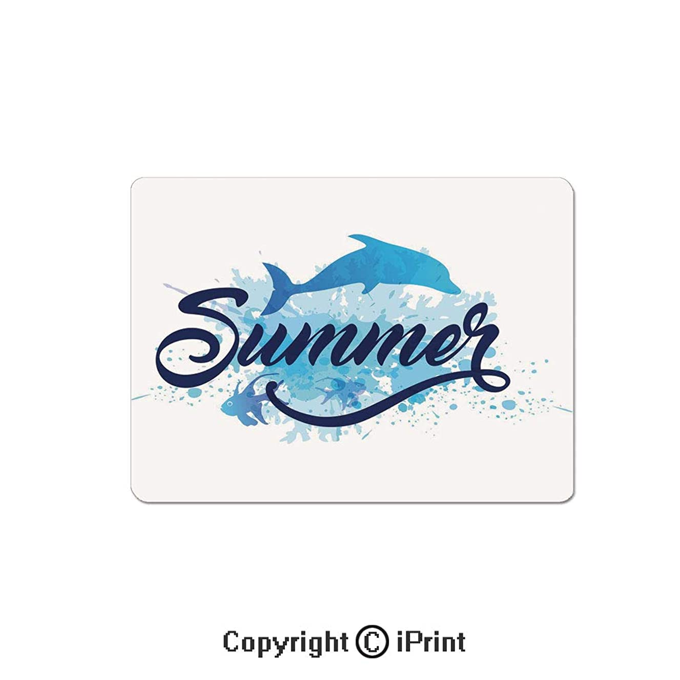 Oversized Mouse Pad,Abstract Summer Lettering with Fish and Dolphin with Color Splashes Image Decorative Gaming Keyboard Pad,9.8x11.8 inch Non-Slip Office Computer Desk Mat,Dark Blue Pale Blue