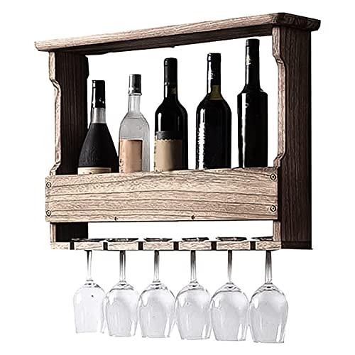 JiuRan Armario de vino de madera maciza, estante de vino, estante de copa de vino, estante de pared, estante decorativo, moderno minimalista pared colgante en la pared (color oscuro)