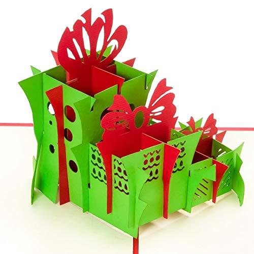 3D Geburtstagskarte - 3 grüne Geschenke - Pop up Karte, Glückwunschkarte Geburtstag, Grußkarte, Geschenkkarte als Gutschein oder für Geldgeschenk, Happy Birthday Card, Geburtstagskarten