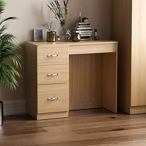 Home Discount Corona–Mesa para Ordenador con 3cajones (Riano Dormitorio Muebles