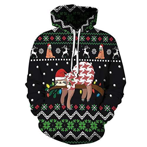 XDJSD Sudadera Sudadera con Capucha para Hombre Árbol De Navidad Lazy Impresión Digital Manga Larga Suéter Holgado Sudadera con Capucha para Hombres Y Mujeres Suéter De Gran Tamaño