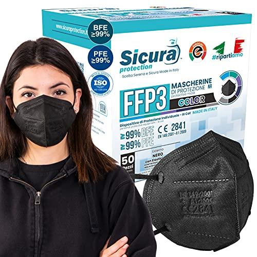 50x CE-zertifizierte FFP3-Masken Schwarz Made in Italy mit aufgedrucktem SICURA-Logo PFE ≥99% | BFE ≥99% SANIFIZIERT und einzeln versiegelt. ISO 13485 und ISO 9001 zertifiziert