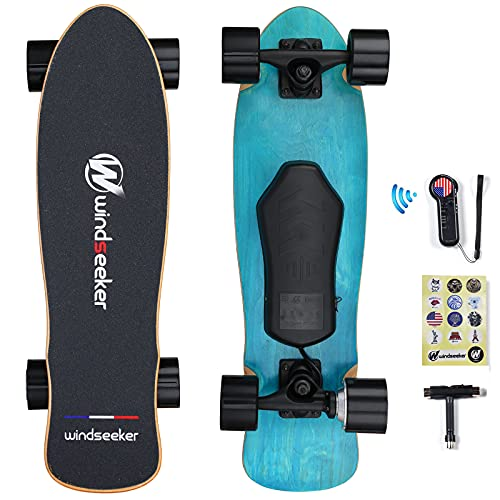 Electric Skateboard, Electric Skateboard with Remote Control for Beginners, 350W Brushless Motor, Max 12.4 MPH, Cruiser E-Ska with DIY Stickers, 3 Speed Adjustment for Kids, Teens, Students and Adults