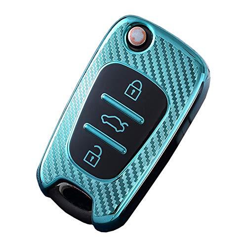 Cubierta de la llave del coche Funda de silicona llavero de Finest-Folia con 3 botones Soft Key Protector Cover de Mando y Control de Auto con VW Skoda SEAT Golf 4 5 6 Polo Fob Modern