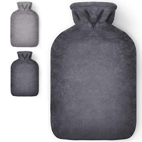 Masringo - Wärmflasche mit Bezug - 1,8L Wärmeflasche mit flauschig weichem Bezug - Bettflasche mit Fleece Cover für Kinder und Erwachsene