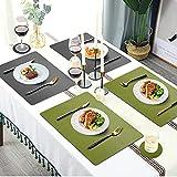 Platzsets 6er Set, Zweiseitig Platzdeckchen Abwaschbar Tischsets rutschfest Lederoptik Platzset 43x30cm und Untersetzer für Hause Küche Restaurant (Grün&Grau) - 6