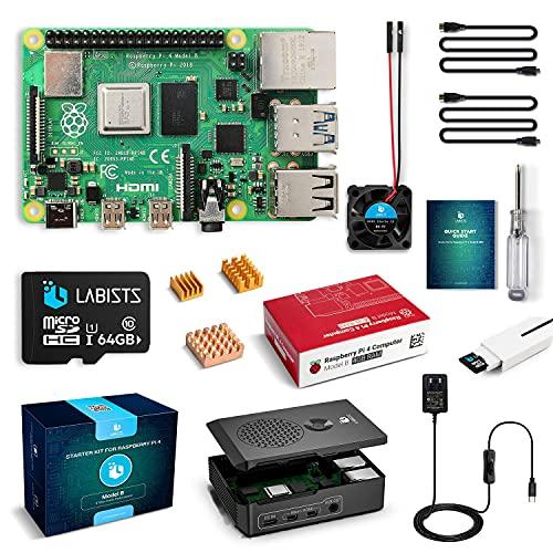 Raspberry Pi 4 4B-64GB(技適マーク入)MicroSDHCカード64G/Raspbianシステムプリインストール/カードリーダ /5.1V/3A Type-C スイッチ付電源/MicroHDMI-to-HDMIケーブルライン/三つヒートシンク/簡単に取り付けケース/日本語取扱説明書/12ヶ月保証