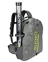 This photo shows the Orvis Waterproof Backpack with a fishing rod tube attached.